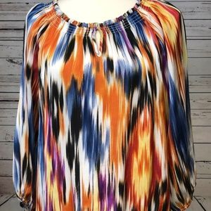 ☀️ Chicos Peasant Top Blouse Colorful sz 1 Small